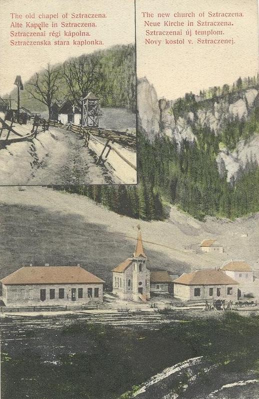 Stratená - pohľadnica z výstavby kostola